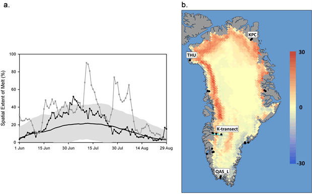Daily spatial extent of melting and map of the anomaly of the number of days when melting was detected