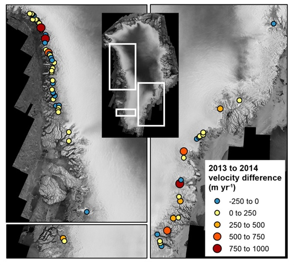 Velocity difference between winter 2012-2013 and winter 2013-2014 measurements for marine-terminating outlet glaciers