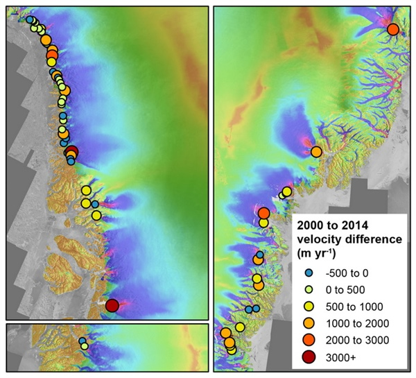 Velocity difference between winter 2000-2001 and winter 2013-2014 measurements for marine-terminating outlet glaciers