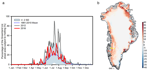 Spatial extent of melt from SSMIS and map of the anomalies