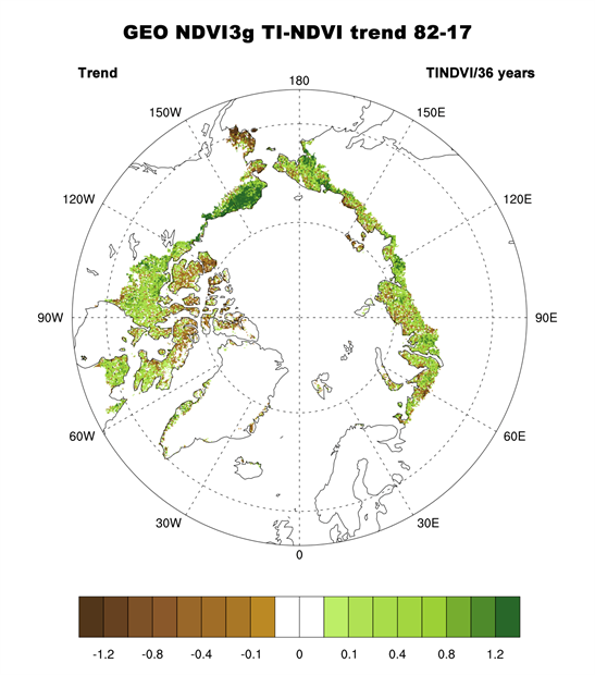 Map of Magnitude of the overall trend in TI-NDVI
