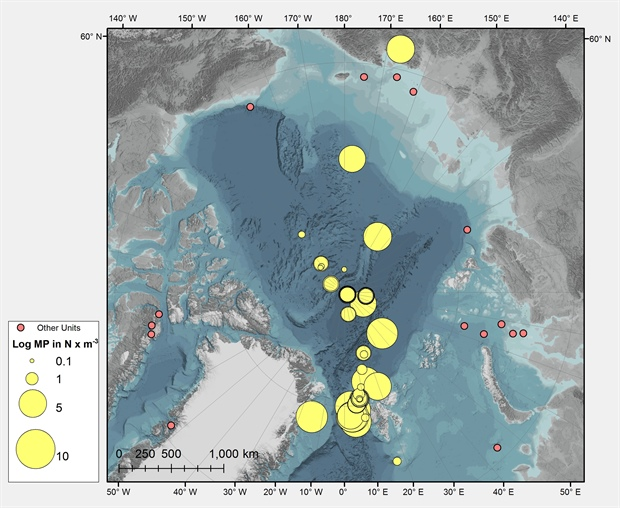 Map of current archived MP sampling in the Central Arctic
