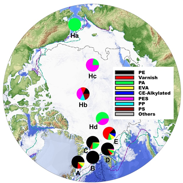 Map of sampling  and polymer com of sea ice cores
