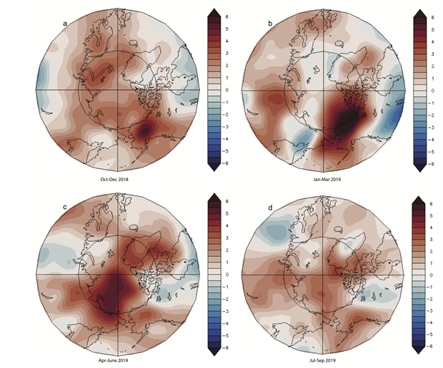 Maps of seasonal anomaly patterns for near-surface air temperatures