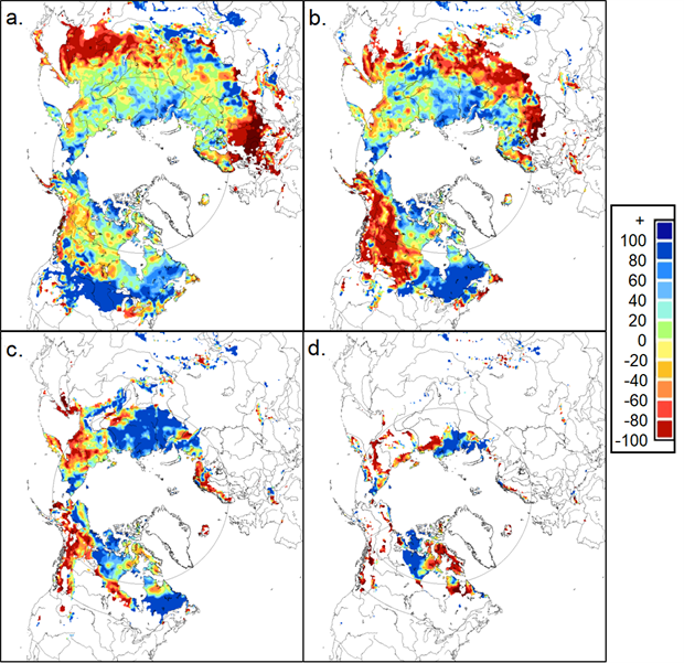Maps of snow depth anomalies in 2019
