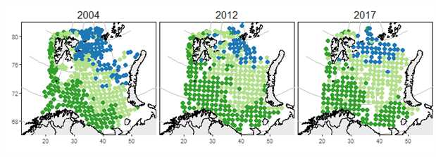 Map of major fish assemblages identified in the Barents Sea