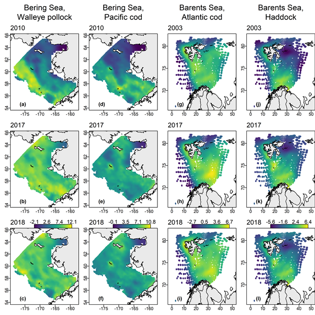Visualization of density estimates for fish in the eastern and northern Bering Sea shelf