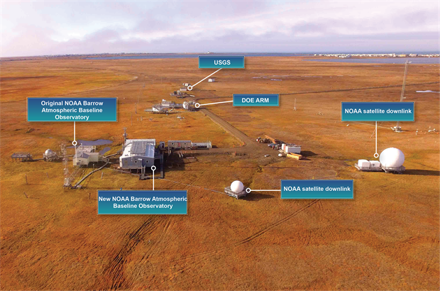 Aerial photo of the new Barrow Atmospheric Baseline Observatory building